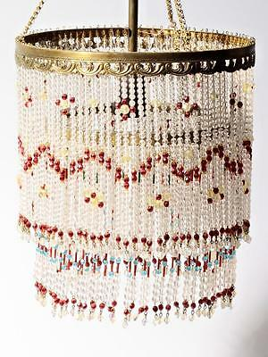 Vintage Czech double layer glass fringe beaded gold tone ceiling chandelier
