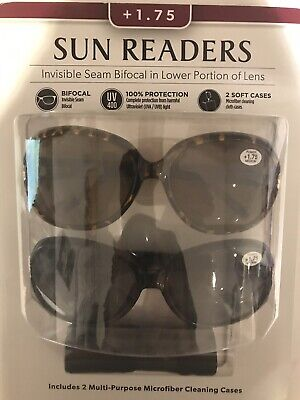 Womans Sun Readers Reading Glasses Sunglasses Bifocal UV400 Twin Pack & 2 Cases