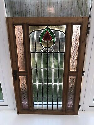 Antique Pine Cupboard Door Stained Glass Art Nouveau Old Vintage Architectural
