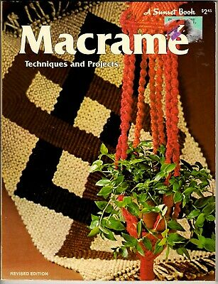 Vintage 1970s Macrame Pattern Book TECHNIQUES & PROJECTS Hangers Sunset Books