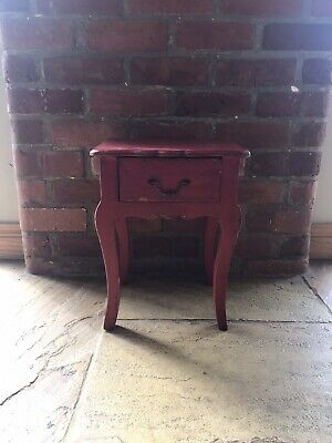 Small Red Bedside Cabinet Table With Drawer