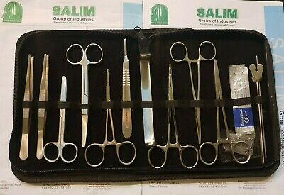 Prof. 15 Pcs MEDICAL DISSECTING KIT Surgical Anatomy Instruments SET salim-group