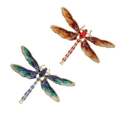 2pcs Vintage Enamel Dragonfly Brooches Crystal Insect Pin Women Jewelry Gift