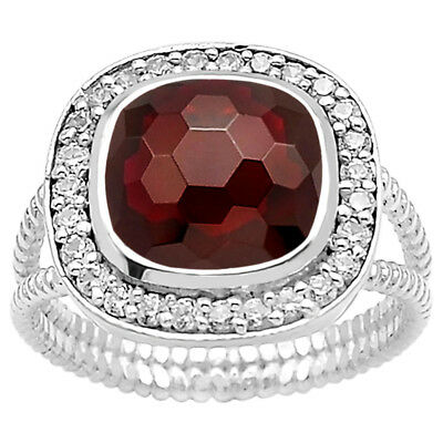 Faceted Hessonite Garnet & Cz 925 Sterling Silver Ring Jewelry DGR1072_J