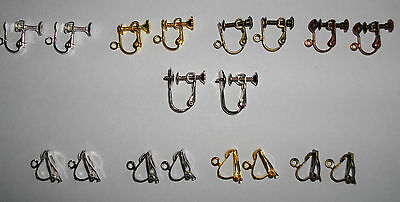 CLIP ON/SCREW BACK non-pierced earrings/wires SILVER ROSE/GOLD BRONZE GUNMETAL