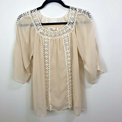 Umgee Top Size S Peasant Ivory Embroidered Flowy Boho Festival Shirt