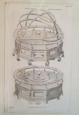 Belle Gravure Astronomie Grand Orrery Fin 1700  Planetaire Tellurium Science ART