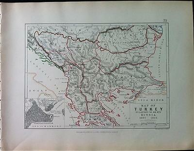 Map, Battle TURKEY WAR WITH RUSSIA c1812 Napoleonic War Engraved A K Johnston,