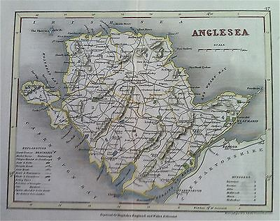 Map of ANGLESEA c1840 County map, color, by Archer for Dugdales England