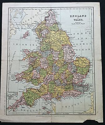 100% ORIGINAL ENGLAND WALES MAP BY GALL & INGLIS c1861 VGC, Color