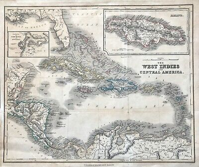 Antique Map of WEST INDIES & Central America c1860 engraved by Johnston, colour