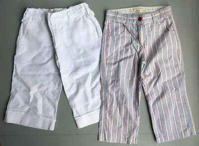 Joules Jigsaw Age 6-7 Cropped Trousers Girls White Linen Cotton Striped Summer