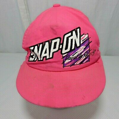 Vtg Pink Neon Snap On Tools Day At The Races Hat Cap Destroyed