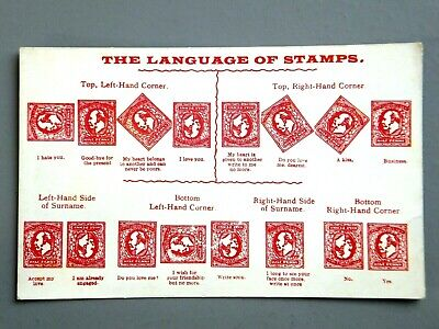 R&L Postcard: The Language of Postage Stamps, Love Friendship etc