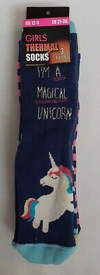 Magical Unicorn - Girl's Thermal Socks-3-Pairs - Size 12-3 - Gift - Brand New