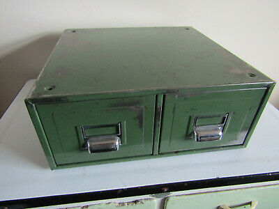 Vintage 1940s Era Military Issue Green Metal Double Filing Index Card Drawers