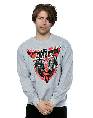 DC Comics Men's Batman v Superman Battle Sweatshirt Grey Official Licensed