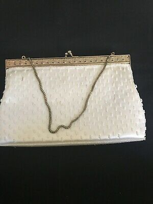 878ccb00d Nordstrom Metallic Box Clutch w/ Chain Strap Crystal Clasp Evening Purse  Gold