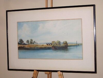 WILLIAM HENRY DYER Original Watercolour Painting Loading Hay River Trent