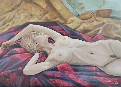 Portrait Morning in Silks oil painting Russian author realism canvas original
