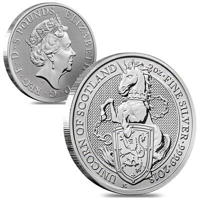 Lot of 2 - 2018 Great Britain 2 oz Silver Queen's Beasts Unicorn Coin BU