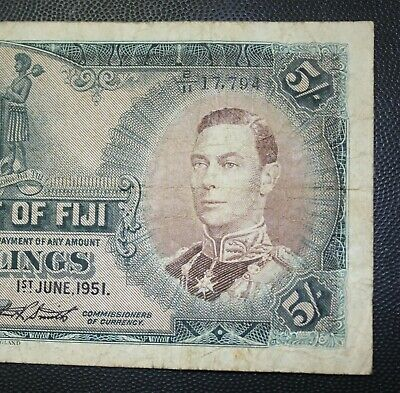 Avf George Vi Portrait. 1950 Five Shillings. Fiji P-37j