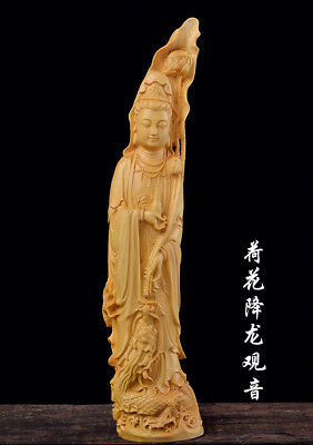 """5.3/"""" Art China Natural Boxwood Wood Handcarved Ancient Erhu Fiddle Girl Statue"""
