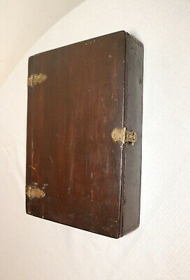 antique 1800's handmade dovetailed wood brass religious bible book box holder
