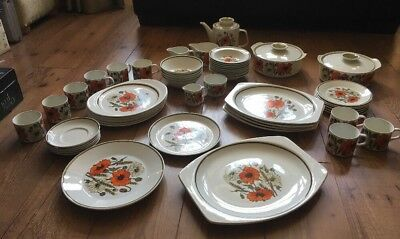 Joblot 56 piece, Vintage  Retro J & G Meakin Studio Poppy Design Dinner, Tea Set
