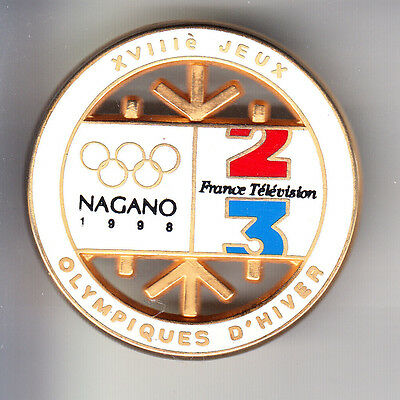 Rare Big Pins Pin's 3D .. Olympique Tv Radio Presse France 2 3 Nagano 1998 ~Br