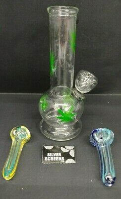 "Hookah Water Pipe Glass Bong 6"" inch, ""Multi GREEN LEAF With FREEBIES"""