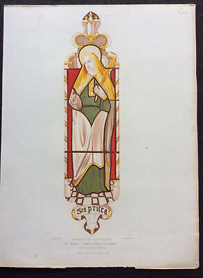 St Prisca, Winchester Cathedral Stained Glass, Owen Carter, Le Keux, orig c1844