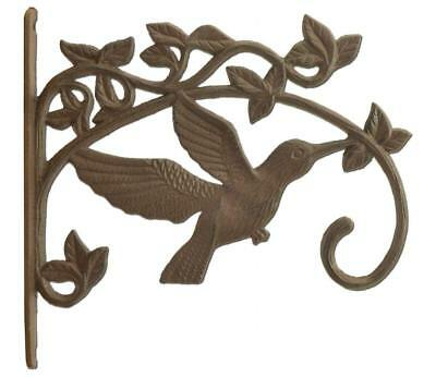 "Hummingbird Plant S Hook antique brown cast iron 17.5/"" flower pot basket hanger"