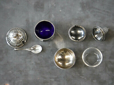 RARE Georg Jensen Arts & Crafts Hammered Sterling Miniature Footed Condiment Set