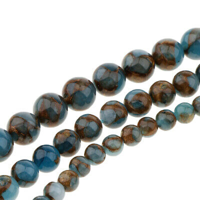 Smooth Natural Blue Agate tone Loose Beads Strand Round 6mm 8mm 10mm Strand