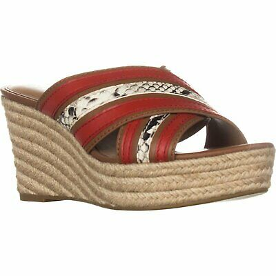 7ca1f0166be NEW $150 COACH Florentine sz 8.5 Saddle Tan Carmine Red Espadrille ...