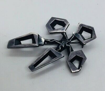 J Tostrup Norway Vintage Sterling Silver Modernist Space Age Pin