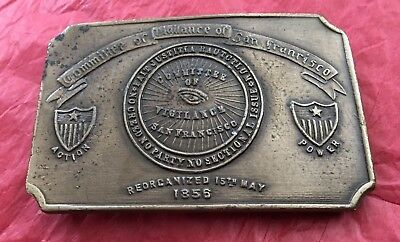 VTG Antique Old Bergamot Napoleon COMMITTEE VIGILANCE SAN FRANCISCO Belt Buckle