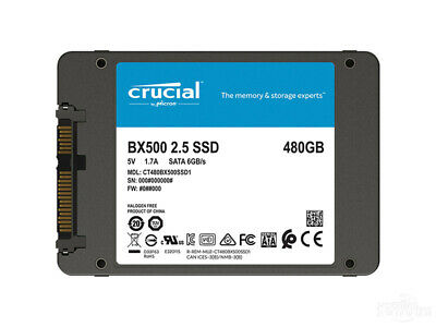 Crucial 480GB Solid State Drive SATA III 3D NAND 2.5'' 6Gb/s Internal SSD BX500