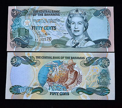 Bahamas 1/2 HALF DOLLARS FIFTY CENTS 2001 P-68 UNC BANKNOTE PAPIERGELD CURRENCY