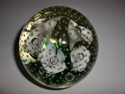"""Vtg~ Murano~Glass~Paperweight~Millefiori With Controlled Bubbles~Flowers~ 3.5""""D"""