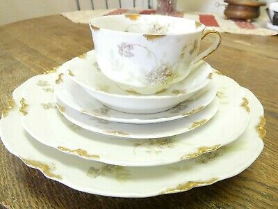 6 piece Setting  Haviland Limoge France China Gold Trim Green Flowers Antique