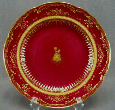 Meissen Field Family Armorial Coat of Arms Raised Gold Scolls Red Ground Plate