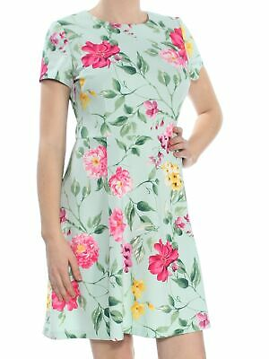 30b571a54610 JESSICA HOWARD $89 Womens New 1041 Aqua Floral Pleated Fit + Flare Dress 10  B+