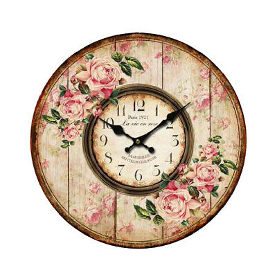 Clock French Country Vintage Wall ROSES FLORAL 3 Clocks Time 34cm New