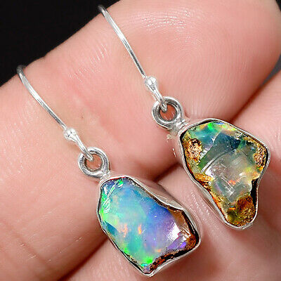 Fine Jewelry Natural Multi Color Ethiopian Opal 925 Silver Couple Hearts Earrings D4793 Gemstone