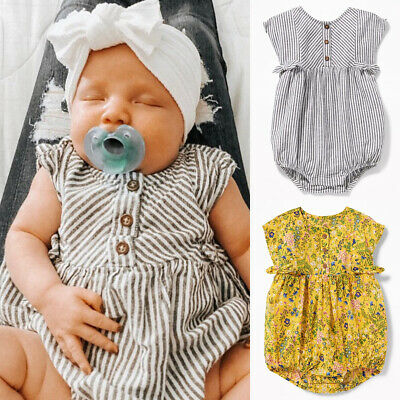 Newborn Infant Baby Boy Girl Striped Romper Bodysuit Sunsuit Outfit Clothes Sets