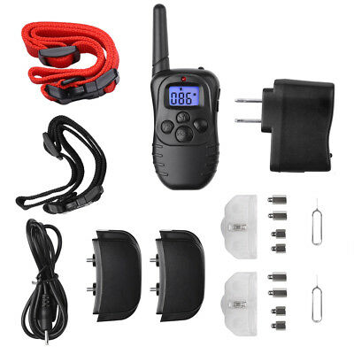 Dog Shock Training Collar Waterproof Rechargeable Remote 900ft Electric LCD