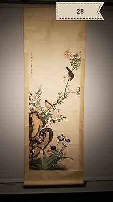 Ma Jin flowers and birds Antique Scroll