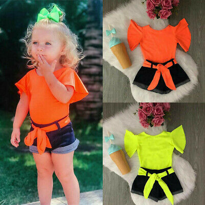 Girl Kid Short Sleeve Solid Ruffle Tops+Jeans Denim Shorts Outfits Set O-neck